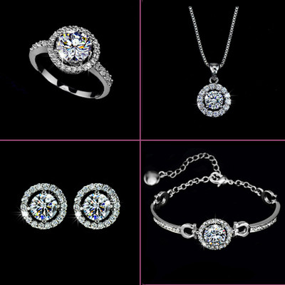 18K White Gold Plated Heart And Arrow Cubic Zircoina Jewellery Set