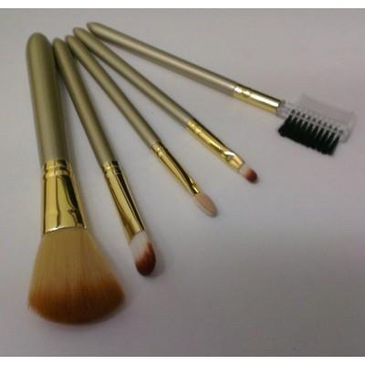 2 X Champagne Natural Cosmetic Professional Brush 5 pcs Set