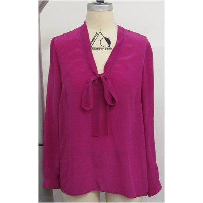 Hilary Radley New York long sleeve silk blouse in magenta