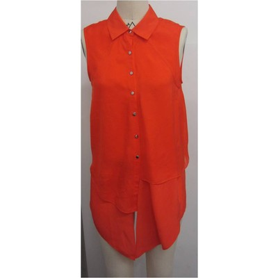 Hilary Radley New york sleeveless silk blouse in poppy