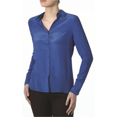 Hilary Radley New York button front silk blouse in cobalt color