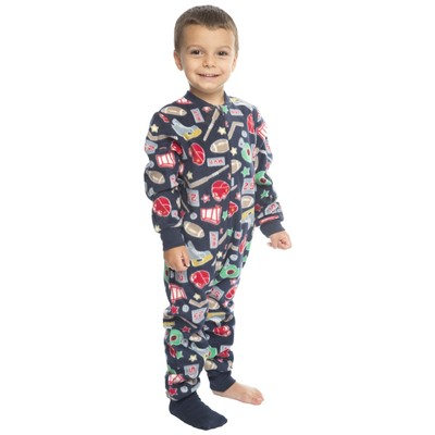 Boys footed pajamas or jumpsuit for kids  - sports