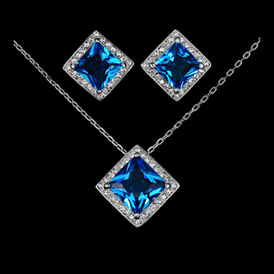 18K White Gold Plated Rhombus Blue Jewellery Set