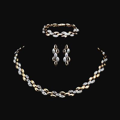 18K Gold Plated Two Tone Stellux Austrian Rhinestone Jewellery Set