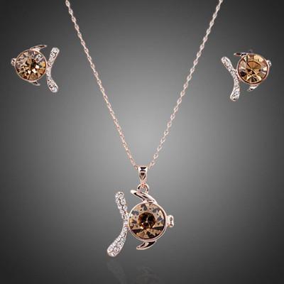 18K Gold Plated Champange Swiss Cubic Zirconia Fish Jewellery Set