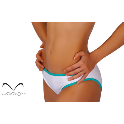 Bikini scoop bottom in white with teal trim