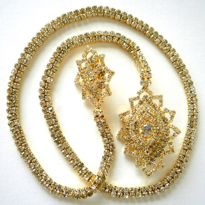 Marquis Shape Long Chain Brooch - Gold + FREE Gift