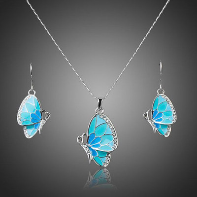 Platinum Plated Fluttering Butterfly Jewellery Set