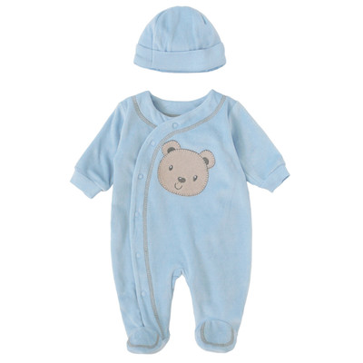 Newborn Boys Onesie with Hood - Bear Applique