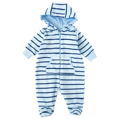 Newborn Boys Onesie with Hood - Navy Striped Print