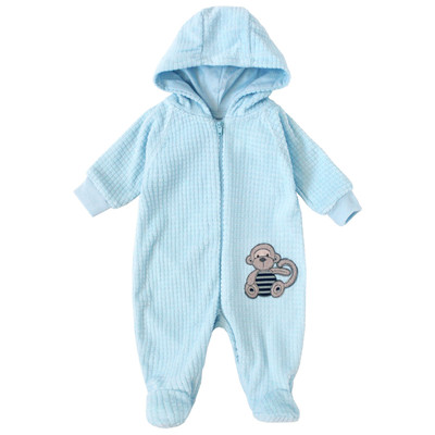 Newborn Boys Onesie with Hood - Monkey Applique