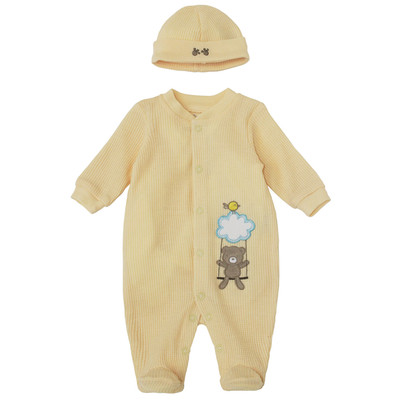 Preemie Neutral Onesie with Hat - Waffle Teddy