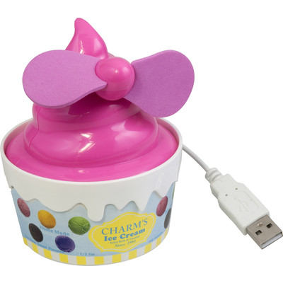 Purtek Strawberry Ice Cream USB Fan - Pink/White
