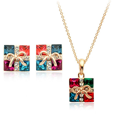 18K Gold Plated Multicolor Square Jewellery Set