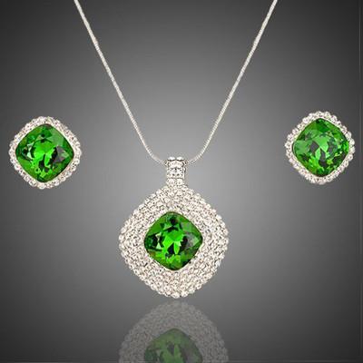 Platinum Plated Leaf Green Jewellery Set