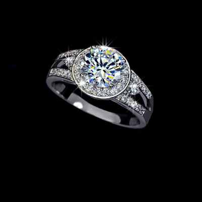18K White Gold Plated 2 Carat Swiss Cubic Zirconia Halo Ring