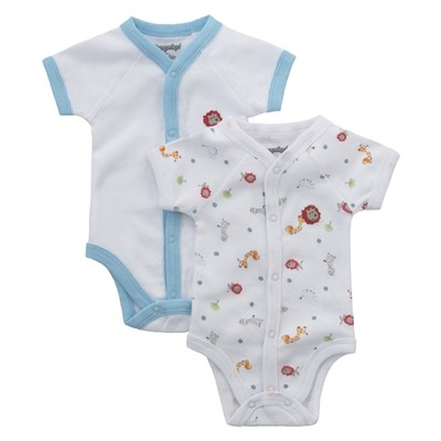 Baby Boy Onesies - Value Pack: Animal Onesie plus  White Onesie with Blue Trim