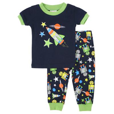 Toddler boy clothes  -  2-piece Short Pajamas -  Robots Print