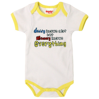 Funny Baby Onesies - White with Yellow Trim - Mommy knows everything