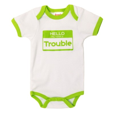 Funny Baby Onesies Bodysuit - White with Green Trim - HELLO my name is Trouble