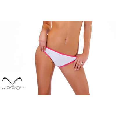 Bikini scoop bottom in white with coral trim