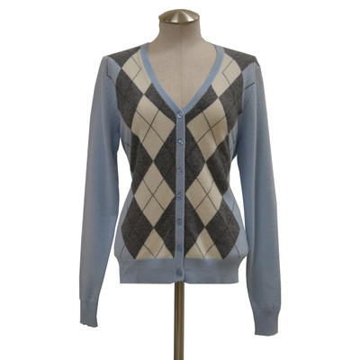 Lin Zhao Women's Argyle Cashmere Cardigan Sweater