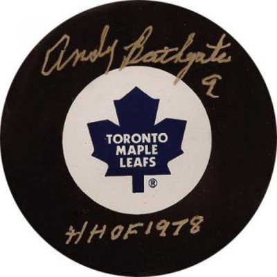 Andy Bathgate Autographed Puck (Tor)