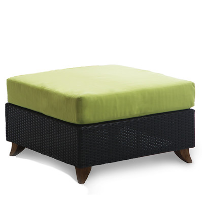 RATTAN OTTOMAN with green cushion