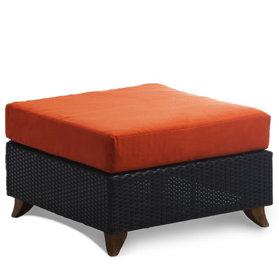 RATTAN OTTOMAN with orange cushion
