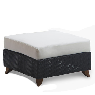 RATTAN OTTOMAN with white cushion