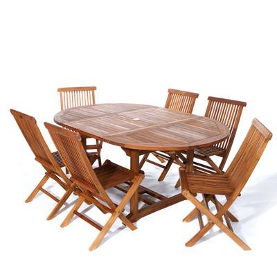 7pc. Teak Oval Extension Table Folding Chair Set