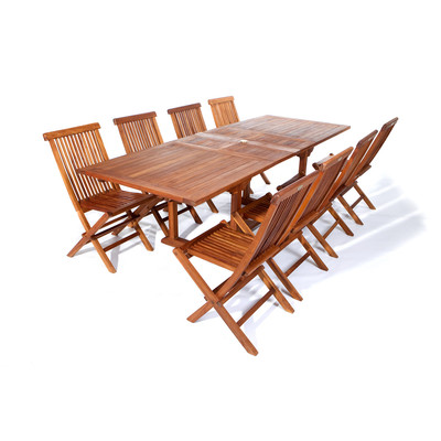 Teak Rectangle Extension Table Folding Chair Set