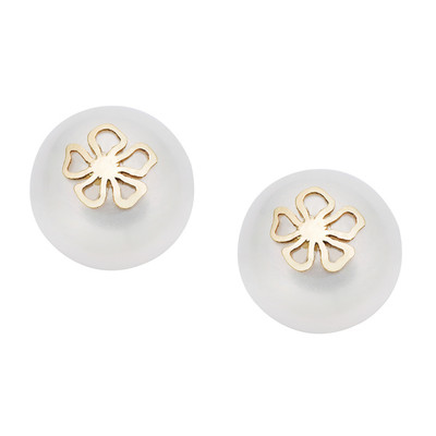 Pearlyta 14k Gold Coin Pearl with Gold Flower Insert Stud Earrings with Gift Box