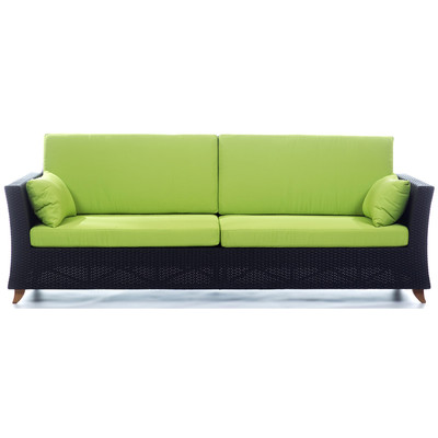 RATTAN 4 Seater All Weather Wicker 8 Ft. SOFA with Lime Green cushion