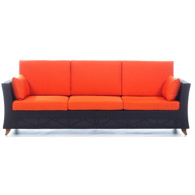 RATTAN 4 Seater All Weather Wicker 8 Ft. SOFA with Orange cushion
