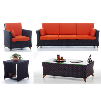 RATTAN wicker 8 Ft. SOFA PATIO SET with Orange cushion