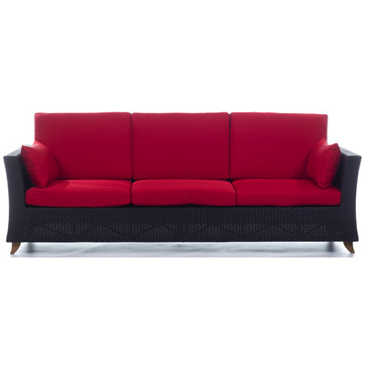 RATTAN 4 Seater All Weather Wicker 8 Ft. SOFA with Ruby Red cushion