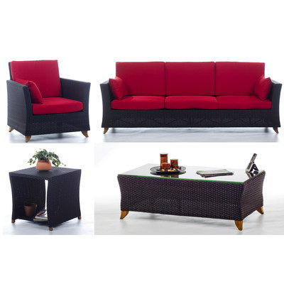 RATTAN wicker 8 Ft. SOFA PATIO SET with Ruby Red cushion