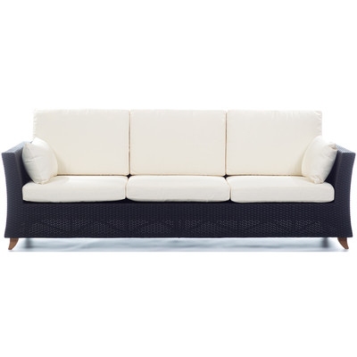 RATTAN 4 Seater All Weather Wicker 8 Ft. SOFA with White cushion
