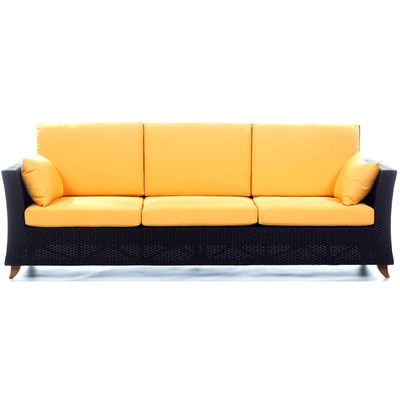 RATTAN 4 Seater All Weather Wicker 8 Ft. SOFA with Yellow cushion