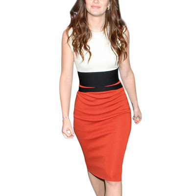 Women's Celebrity Midi Contrast Bodycon Pencil Dress