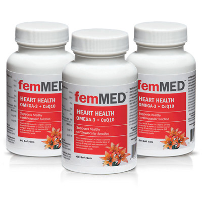 femMED Heart Health Omega-3 + CoQ10  3 pk  (3 x 60 vegetable capsules)