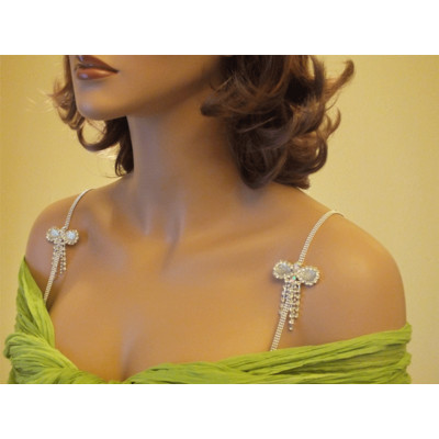 White Bow Bra Straps for Strapless Dresses-Item # 1030 - Rhinestone