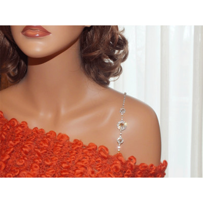 Decorative Bra Straps - Triple Round Silver for Strapless Dresses# 1025-Rhinestone
