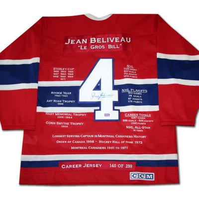 Jean Beliveau Career Jersey - Autographed - LTD ED 299 - Montreal Canadiens