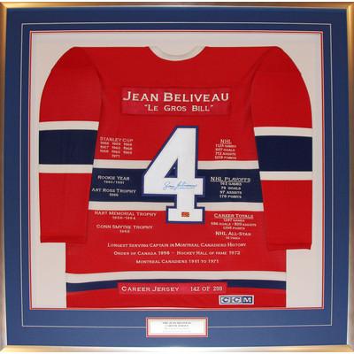 Jean Beliveau Framed Career Jersey - Signed - Ltd Ed 299 - Montreal Canadiens
