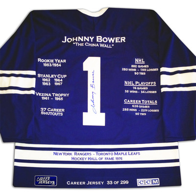 Johnny Bower Career Jersey - Autographed - LTD ED 299 - Toronto Maple Leafs