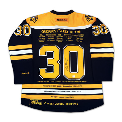 Gerry Cheevers Career Jersey - Autographed - LTD ED 299 - Boston Bruins