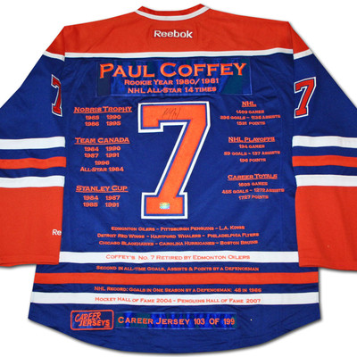 Paul Coffey Career Jersey - Autographed - LTD ED 199 - Edmonton Oilers