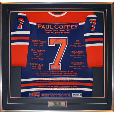 Paul Coffey Framed Career Jersey - Autographed - Ltd Ed 199 - Edmonton Oilers